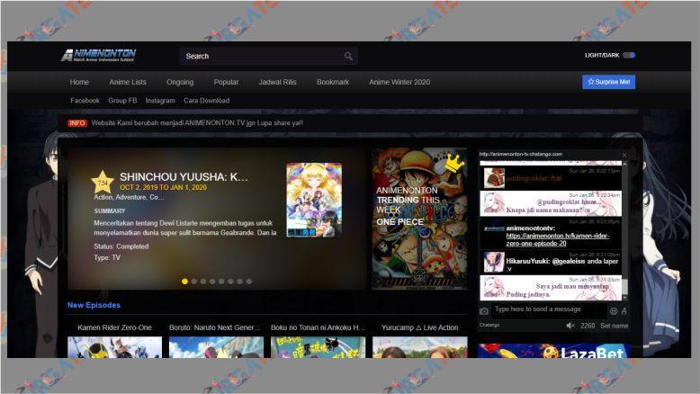 Tampilan Situs Animenonton.tv