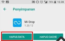 hapus data aplikasi mi drop yang error