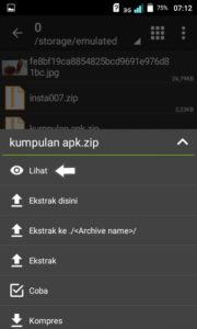 klik lihat pada file zip-rar yang akan diesktrak