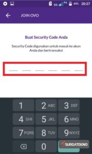 buat security code sebanyak 6 digit