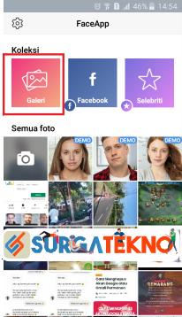 jalankan aplikasi faceapp dan pilih galeri