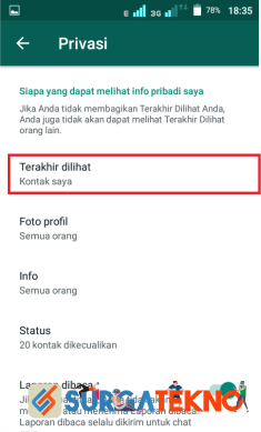 langkah 5 - cara menyembunyikan status online whatsapp