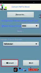 klik tombol convert untuk mengubah file pdf ke word dengan convert pdf to word