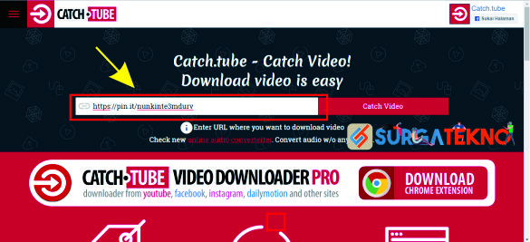 cara download video pinterest dengan catch tube