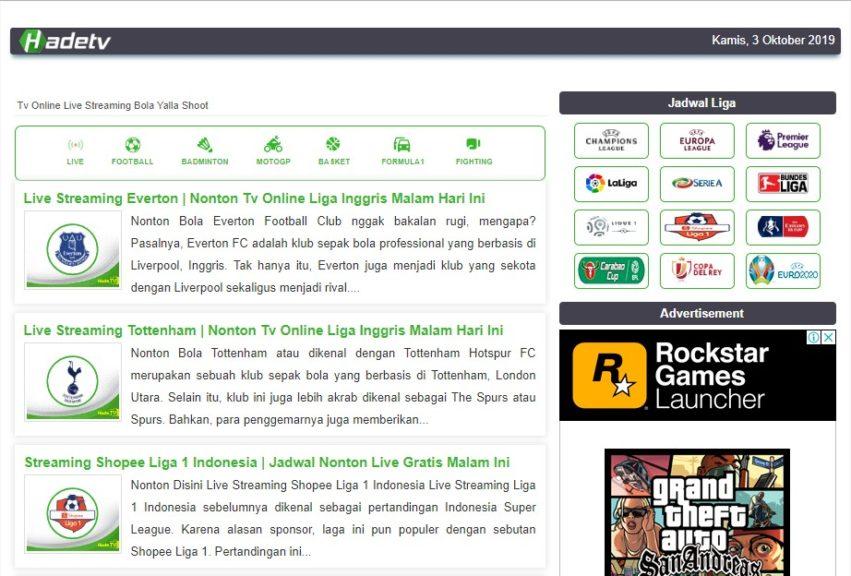 tampilan situs hadetv