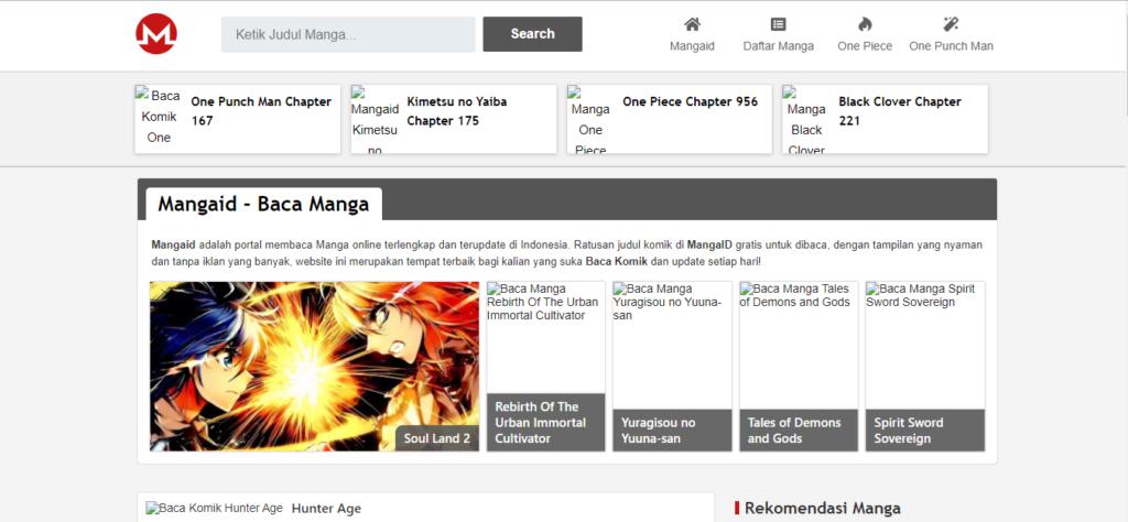 tampilan situs mangaid