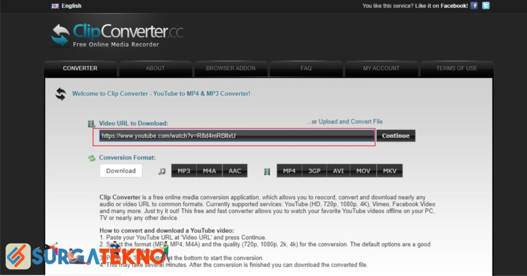 Masukkan Link Video Youtube di ClipConverter