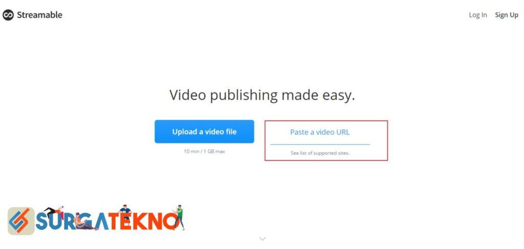 Masukkan Link Video Youtube di Streamable