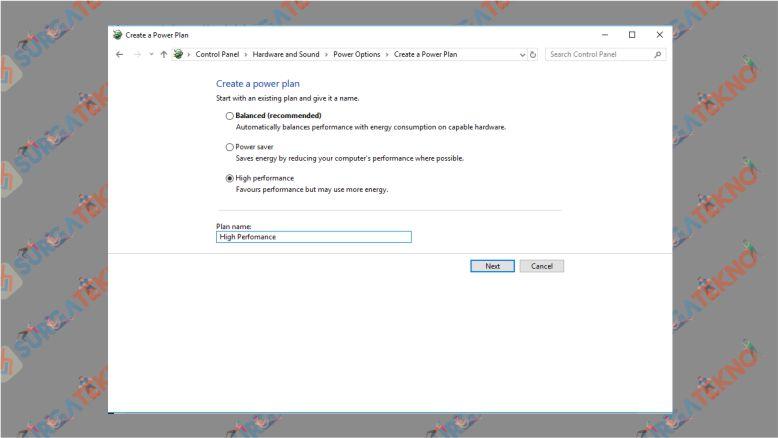 Aktifkan High Perfomance Windows 10