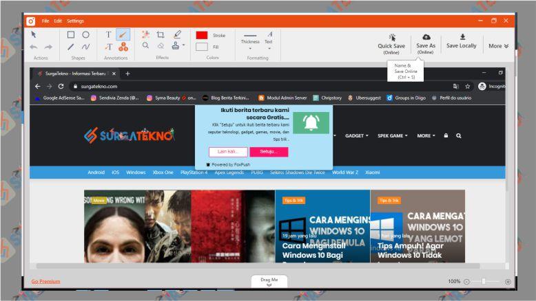 Hasil Screenshot Laptop yang Diambil dengan TinyTake