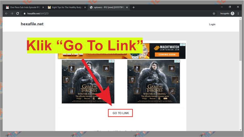 Klik Link Go To Link pada Hexafile