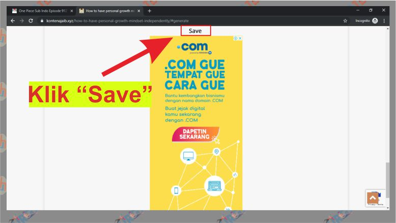 Klik Link Save pada Safelink