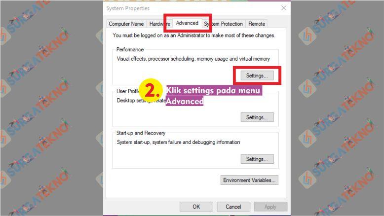 Klik Settings pada menu Advanced