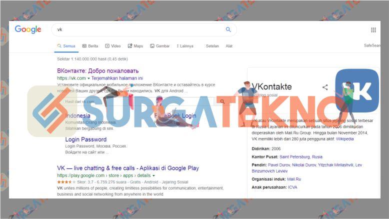 Cari VK di Google lewat PC atau laptop