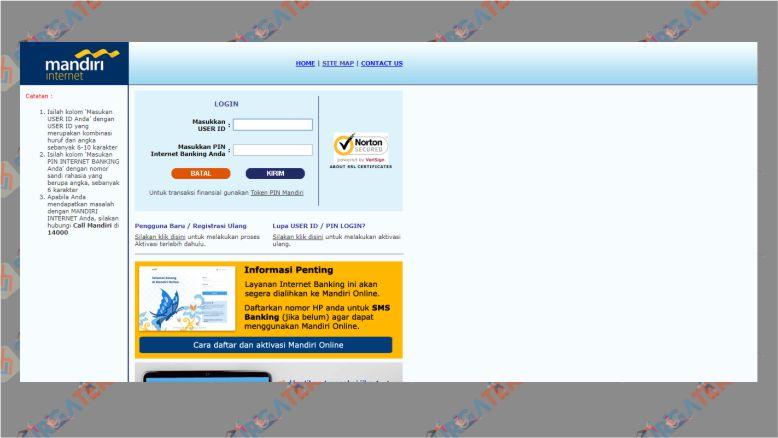 Halaman Website Internet Banking Mandiri per 25 Januari 2020
