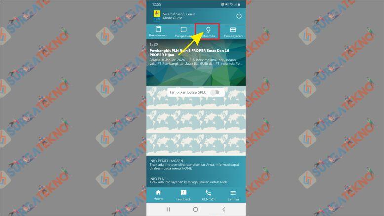 Klik menu Informasi PLN Mobile Android