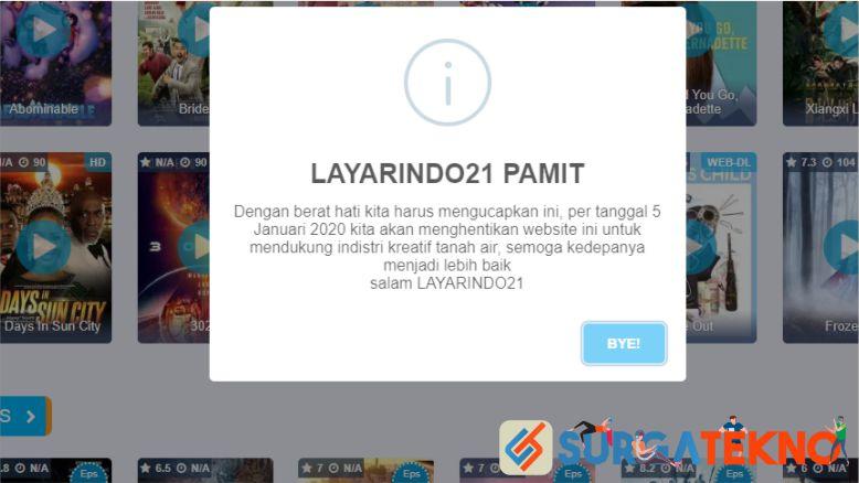 Menyusul IndoXXI, situs LayarIndo21 ditutup juga