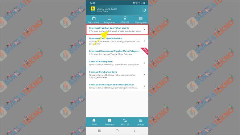 Pilih Informasi Tagihan dan Token Listrik di App PLN Mobile