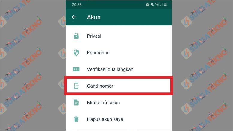 Pilih Menu Ganti Nomor WhatsApp