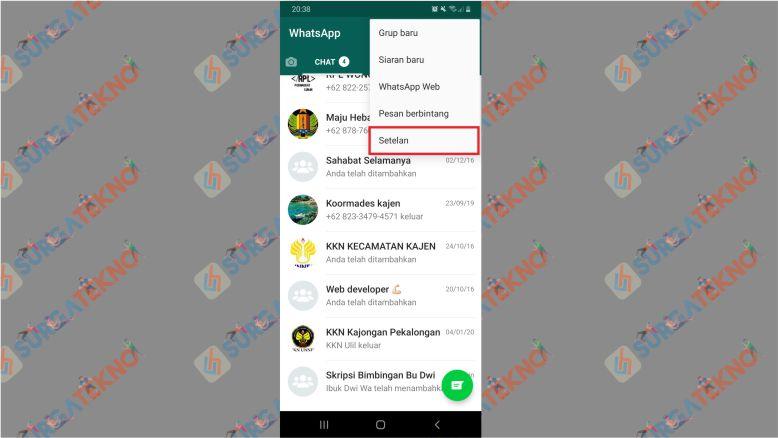 Pilih Menu Setelan pada WhatsApp
