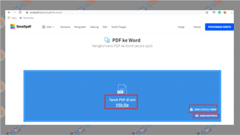 Unggah File di SmallPDF