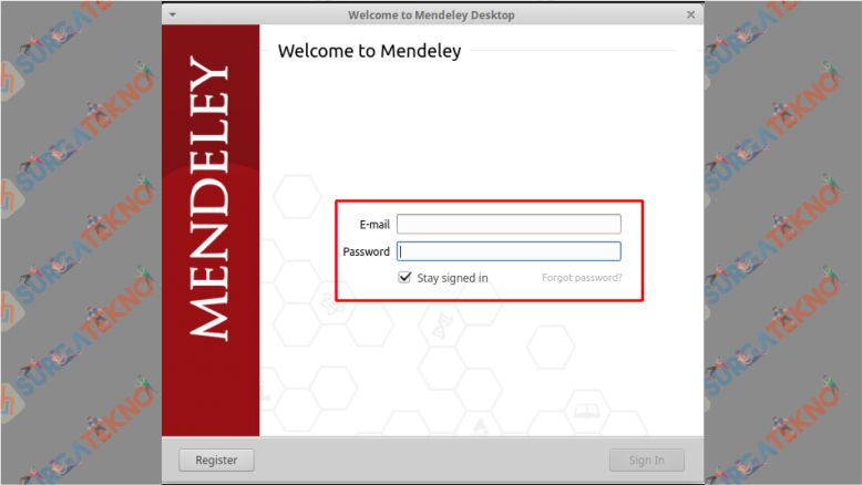Halaman Login Aplikasi Mendeley