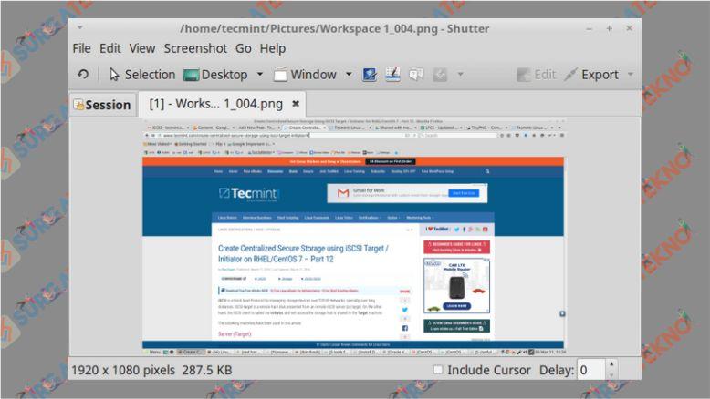 Hasil Screenshot dengan Shutter di Linux