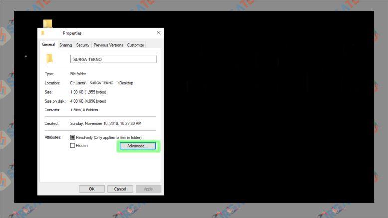 Klik Advanced pada Folder yang ingin Di-lock