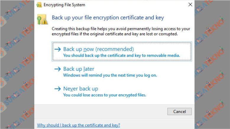 Lakukan Backup Folder yang Terenkripsi