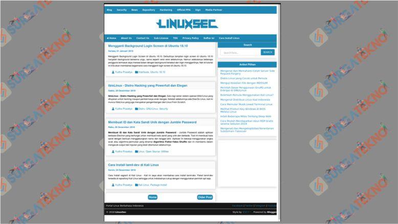 Screenshot Website di Linux