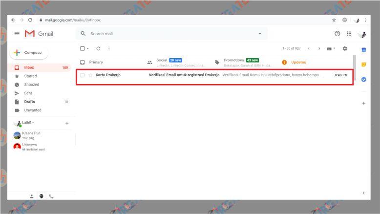 Buka Email untuk Verifikasi Akun PraKerja