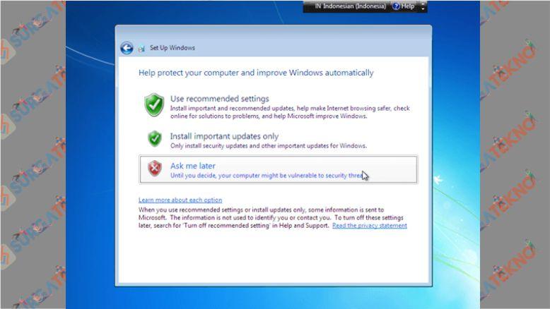 Klik Ask me Later Jika Windows 7 Kalian Trial