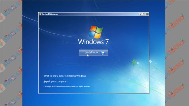 Klik Install Now - Cara Install Windows 7