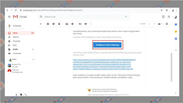 Klik Link Verifikasi Email Sekarang untuk Akun PraKerja