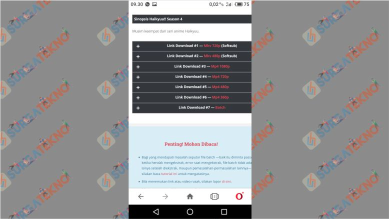 Klik Tombol Plus untuk Menampilkan Link Download dari Meownime
