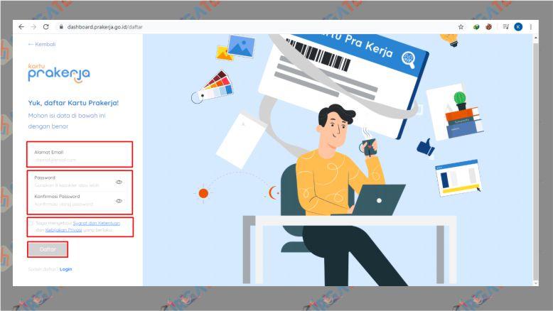 Masukkan Data Email dan Password untuk Membuat Akun PraKerja