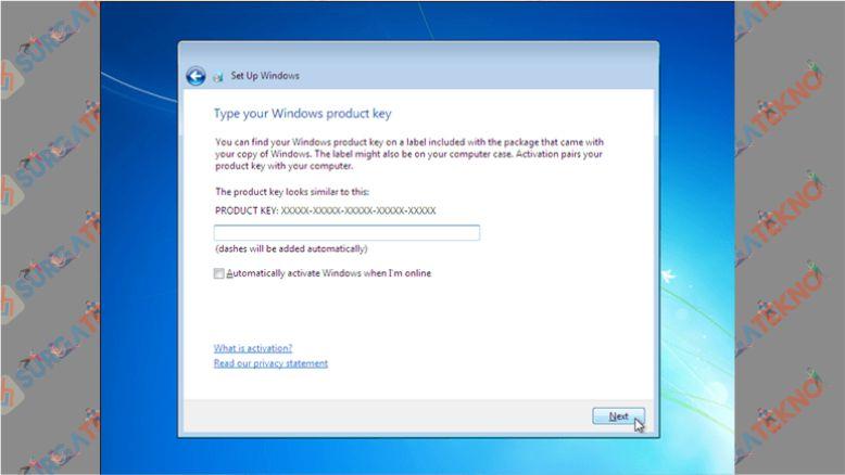 Masukkan Product Key Windows 7 (Jika Tidak Punya Bisa di Skip)