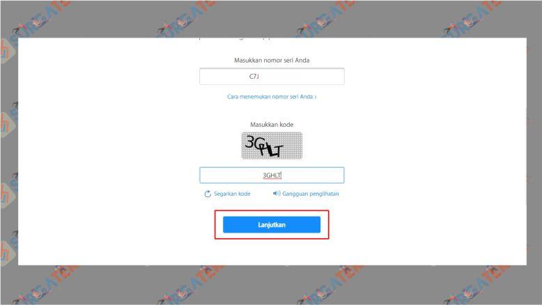 Masukkan Serial Number dan Kode Captcha di Situs Apple