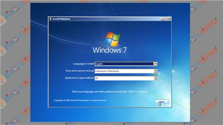 Menu Utama Installasi Windows 7