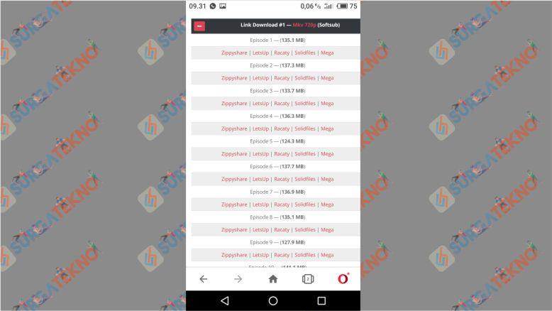 Pilih Link Download yang Disediakan Meownime