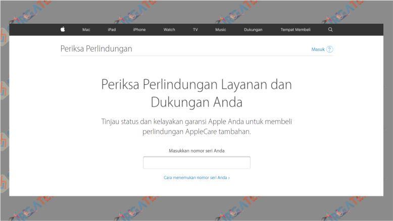Tampilan Situs checkcoverage.apple.com