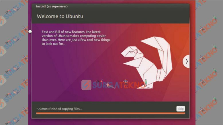 Tunggu Hingga Proses Installasi Linux Ubuntu Selesai