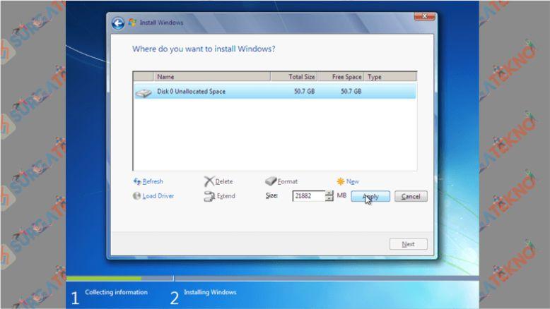 Untuk Harddisk Baru Silahkan Atur Ruang Partisi Terlebih Dahulu - Install Windows 7