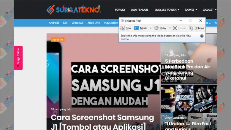 Aplikasi Snipping Tool Windows untuk Screenshot Laptop