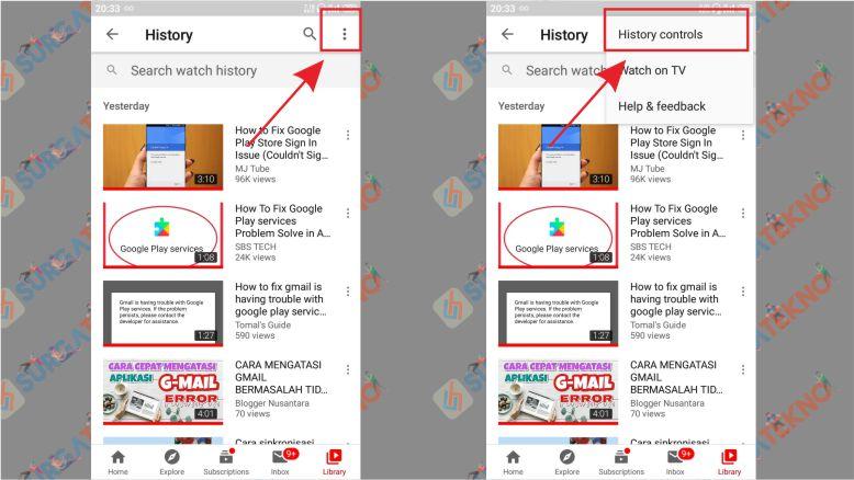 Buka History Controls - Langkah Menghapus History Tontonan Youtube