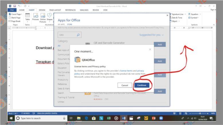Klik Continue untuk mulai menginstall QR4Office