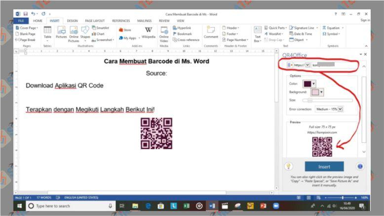 Mulai membuat QRCode di Microsoft Word