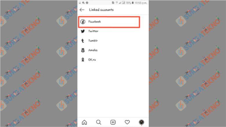 Pilih Facebook untuk Menghubungkan dengan Instagram