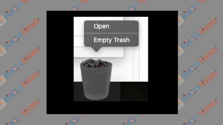 Klik Kanan pada Trash dan Pilih Empty Trash