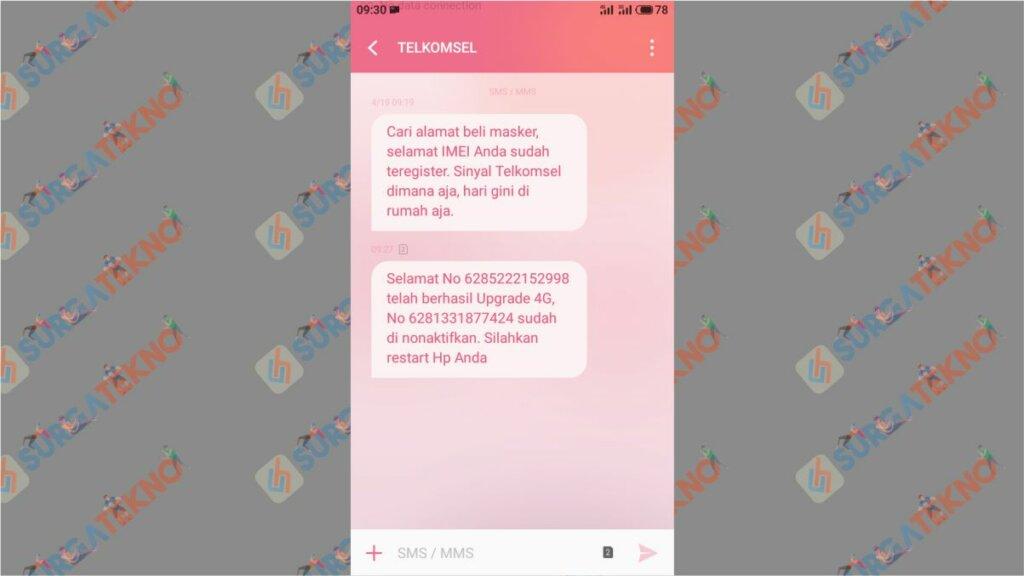 Langkah 7. Cara Upgrade Kartu Telkomsel ke 4G - Nomor Sudah Diproses ke 4G